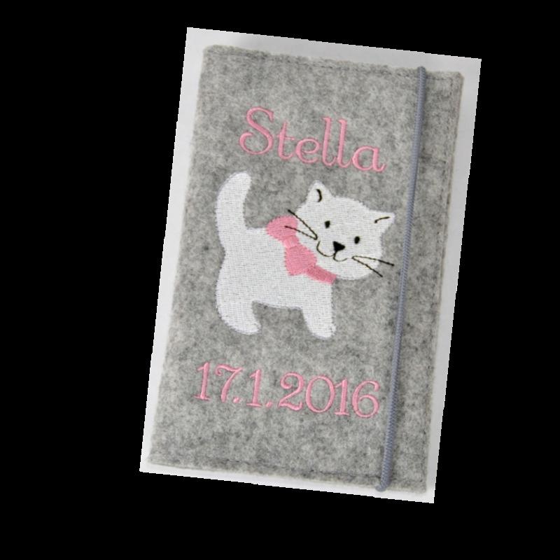 Mutterkindpasshuelle Katze mit Schleife filz